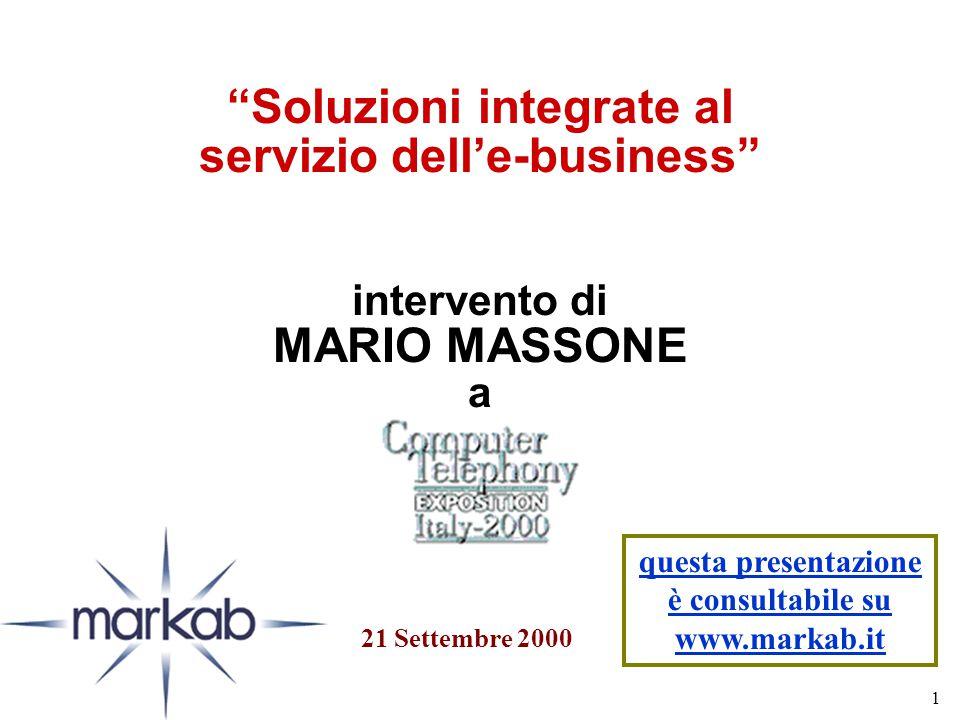 1 Soluzioni integrate al servizio dell'e-business intervento di MARIO MASSONE a 21 Settembre 2000 questa presentazione è consultabile su www.markab.it