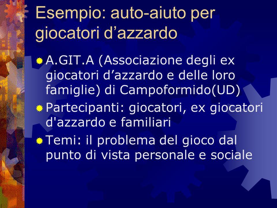Esempio: auto-aiuto per giocatori d'azzardo  A.GIT.A (Associazione degli ex giocatori d'azzardo e delle loro famiglie) di Campoformido(UD)  Partecip