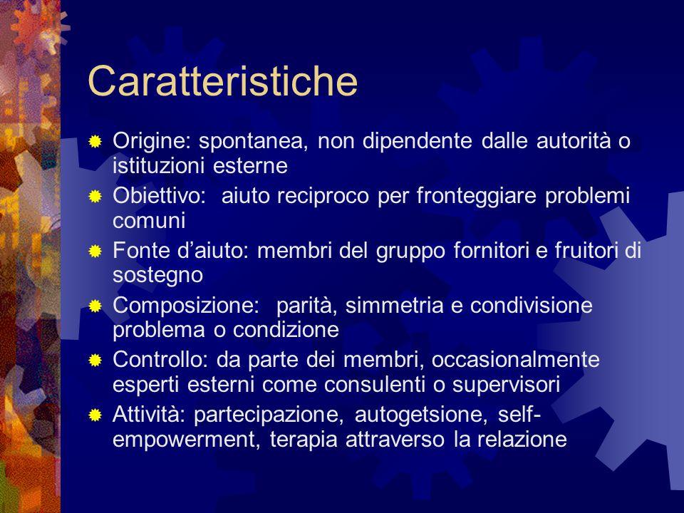 Caratteristiche  Origine: spontanea, non dipendente dalle autorità o istituzioni esterne  Obiettivo: aiuto reciproco per fronteggiare problemi comun