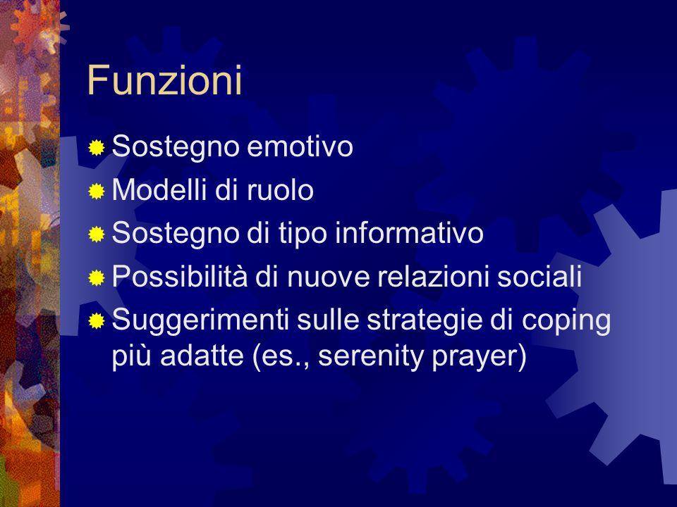 Funzioni  Sostegno emotivo  Modelli di ruolo  Sostegno di tipo informativo  Possibilità di nuove relazioni sociali  Suggerimenti sulle strategie