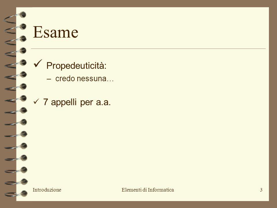 IntroduzioneElementi di Informatica3 Propedeuticità: –credo nessuna… 7 appelli per a.a. Esame