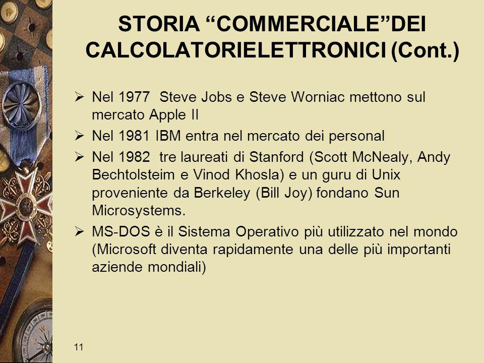 11 STORIA COMMERCIALE DEI CALCOLATORIELETTRONICI (Cont.)  Nel 1977 Steve Jobs e Steve Worniac mettono sul mercato Apple II  Nel 1981 IBM entra nel mercato dei personal  Nel 1982 tre laureati di Stanford (Scott McNealy, Andy Bechtolsteim e Vinod Khosla) e un guru di Unix proveniente da Berkeley (Bill Joy) fondano Sun Microsystems.