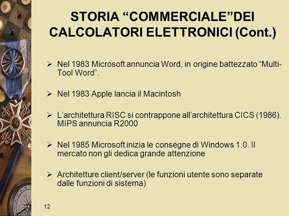 12 STORIA COMMERCIALE DEI CALCOLATORI ELETTRONICI (Cont.)  Nel 1983 Microsoft annuncia Word, in origine battezzato Multi- Tool Word .