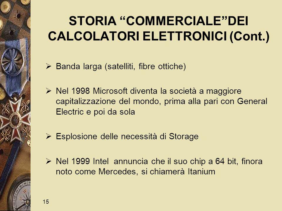 15 STORIA COMMERCIALE DEI CALCOLATORI ELETTRONICI (Cont.)  Banda larga (satelliti, fibre ottiche)  Nel 1998 Microsoft diventa la società a maggiore capitalizzazione del mondo, prima alla pari con General Electric e poi da sola  Esplosione delle necessità di Storage  Nel 1999 Intel annuncia che il suo chip a 64 bit, finora noto come Mercedes, si chiamerà Itanium