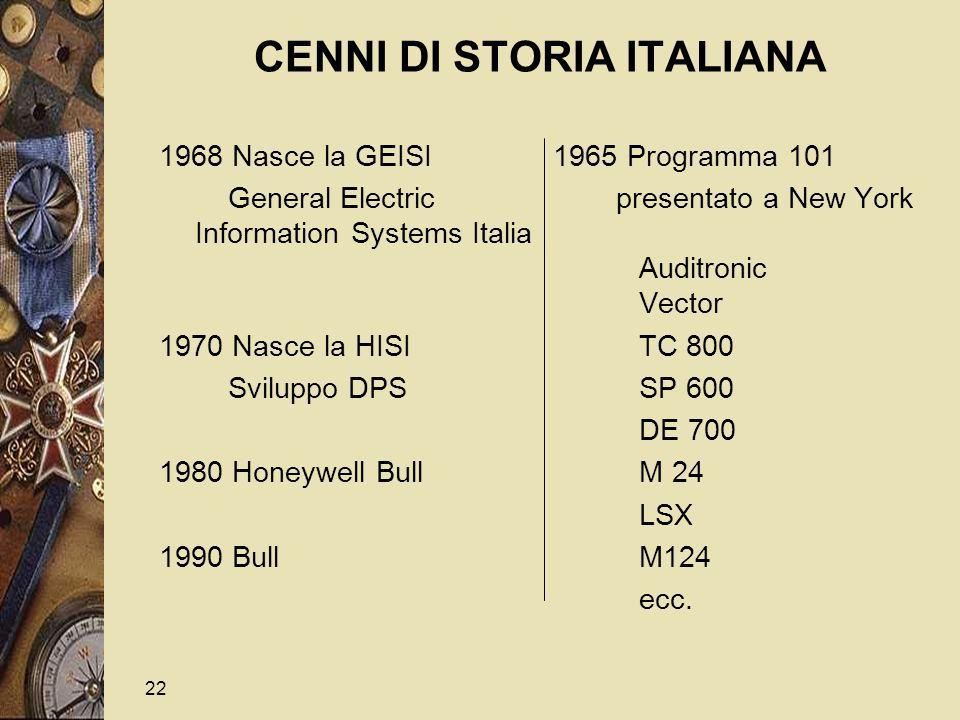 22 CENNI DI STORIA ITALIANA 1968 Nasce la GEISI 1965 Programma 101 General Electric presentato a New York InformationSystems Italia Auditronic Vector 1970 Nasce la HISI TC 800 Sviluppo DPS SP 600 DE 700 1980 Honeywell Bull M 24 LSX 1990 Bull M124 ecc.