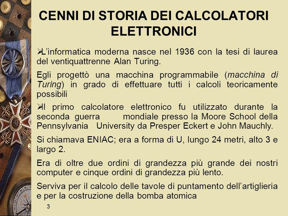 4 CENNI DI STORIA DEI CALCOLATORI ELETTRONICI - cont.