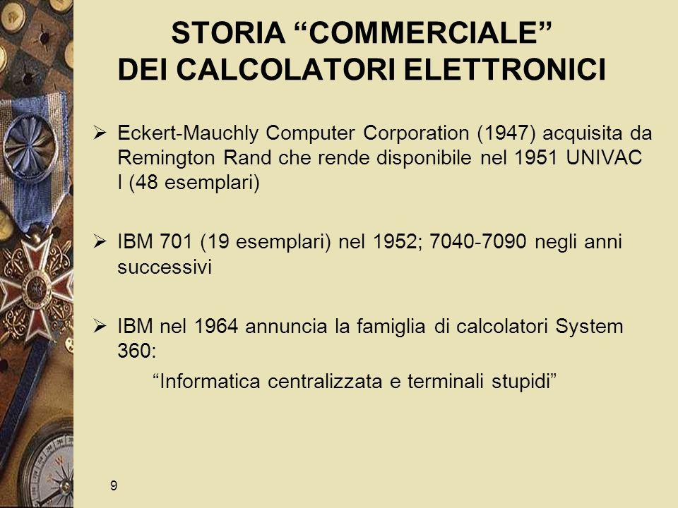 10 STORIA COMMERCIALE DEI CALCOLATORI ELETTRONICI (Cont)  Nel 1963 appaiono i supercalcolatori (Control Data, Cray)  DEC (Digital Equipment Corporation) produce nel 1965 il PDP8, il primo minicalcolatore: Informatica distribuita e terminali intelligenti  Sviluppo e disponibilità del sistema operativo UNIX (Fine anni 70) presso Bell Labs (Ken Tompson)  Nel 1971 alla Intel (fondata nel 1968 da Robert Noyce, Gordon Moore e Andy Grove) Federico Faggin inventa il microprocessor (4004)