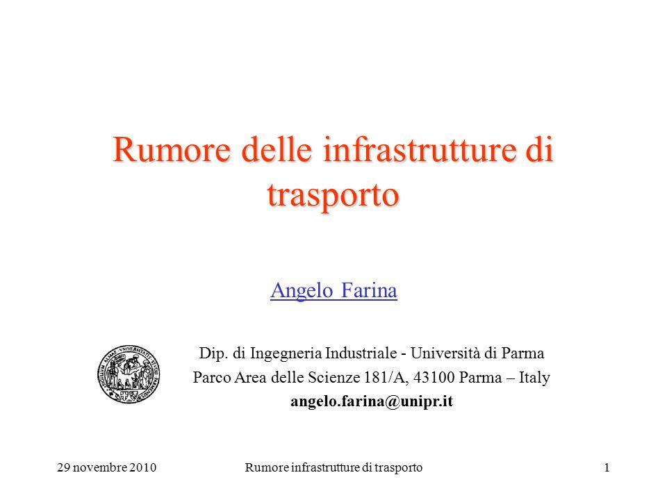 29 novembre 2010Rumore infrastrutture di trasporto1 Rumore delle infrastrutture di trasporto Angelo Farina Dip. di Ingegneria Industriale - Università