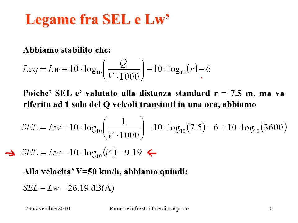 29 novembre 2010Rumore infrastrutture di trasporto6 Legame fra SEL e Lw' Abbiamo stabilito che: Poiche' SEL e' valutato alla distanza standard r = 7.5