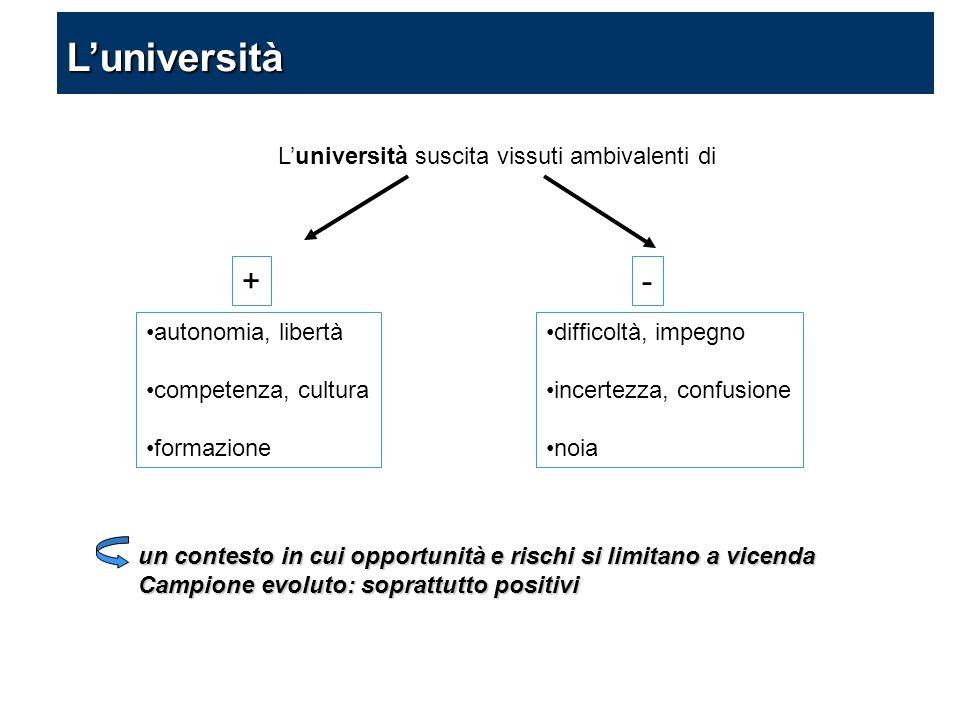 L'università suscita vissuti ambivalenti di difficoltà, impegno incertezza, confusione noia autonomia, libertà competenza, cultura formazione un conte