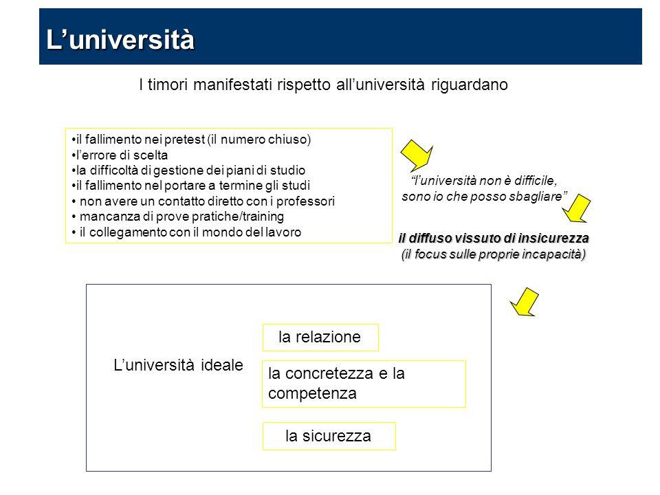 I timori manifestati rispetto all'università riguardano il fallimento nei pretest (il numero chiuso) l'errore di scelta la difficoltà di gestione dei