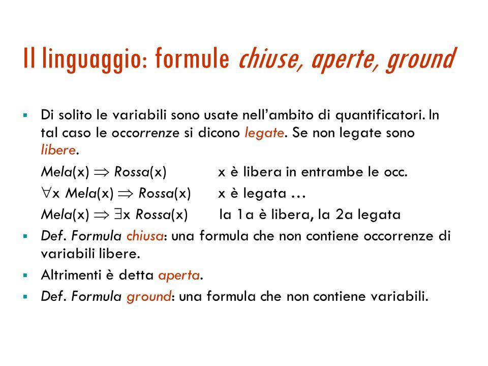 Il linguaggio: quantificatori  Quantificatore universale   x Ama(x, Gelato)  Quantificatore esistenziale   x Mela(x)  Rossa(x)  L'ordine dei q