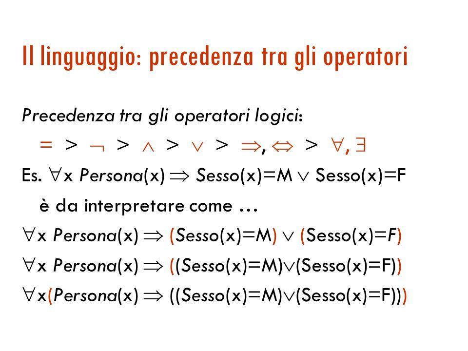 Il linguaggio: formule chiuse, aperte, ground  Di solito le variabili sono usate nell'ambito di quantificatori. In tal caso le occorrenze si dicono l
