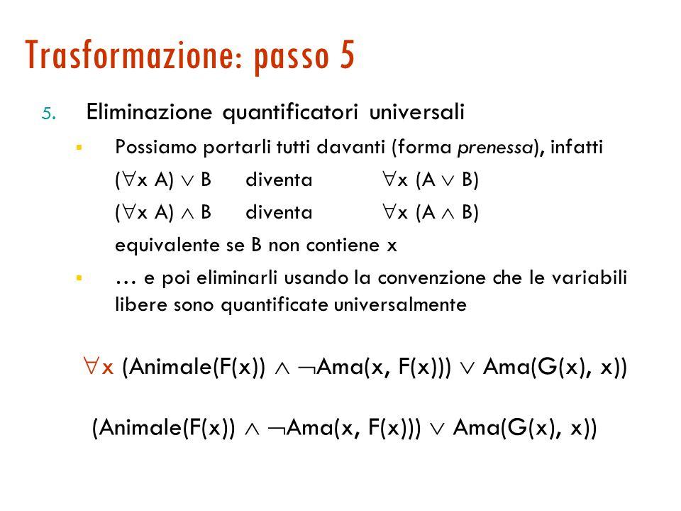 Trasformazione: passo 4 4. Skolemizzazione: eliminazione dei quantificatori esistenziali  x (  y (Animale(y)   Ama(x, y)))  (  z Ama(z, x)) Ci s