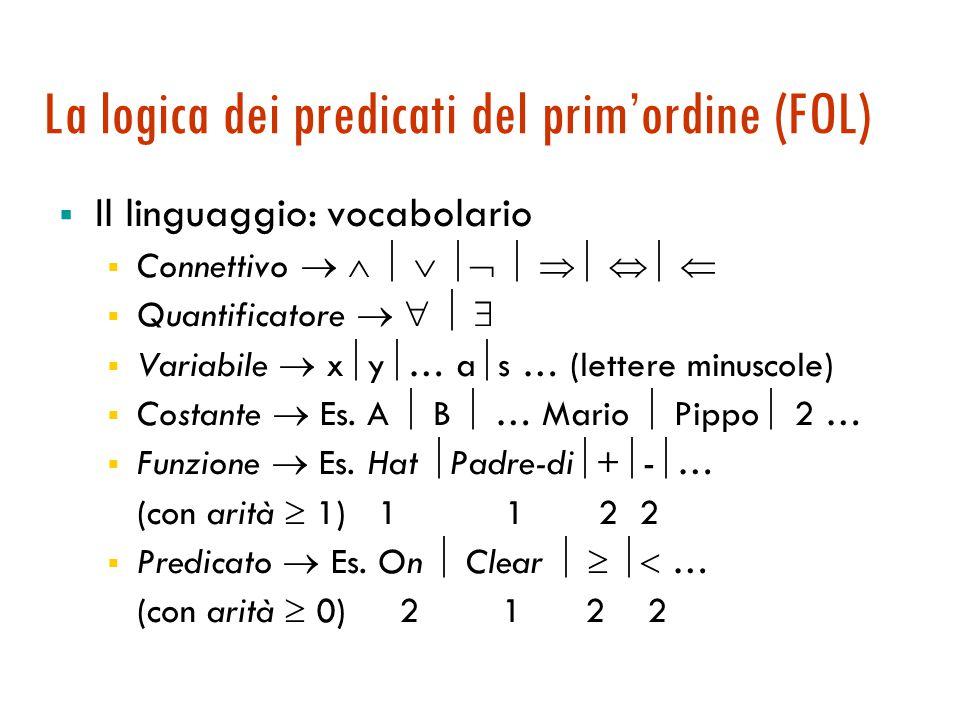 La logica dei predicati del prim'ordine (FOL)  Il linguaggio: vocabolario  Connettivo           Quantificatore      Variabile  x  y  … a  s … (lettere minuscole)  Costante  Es.