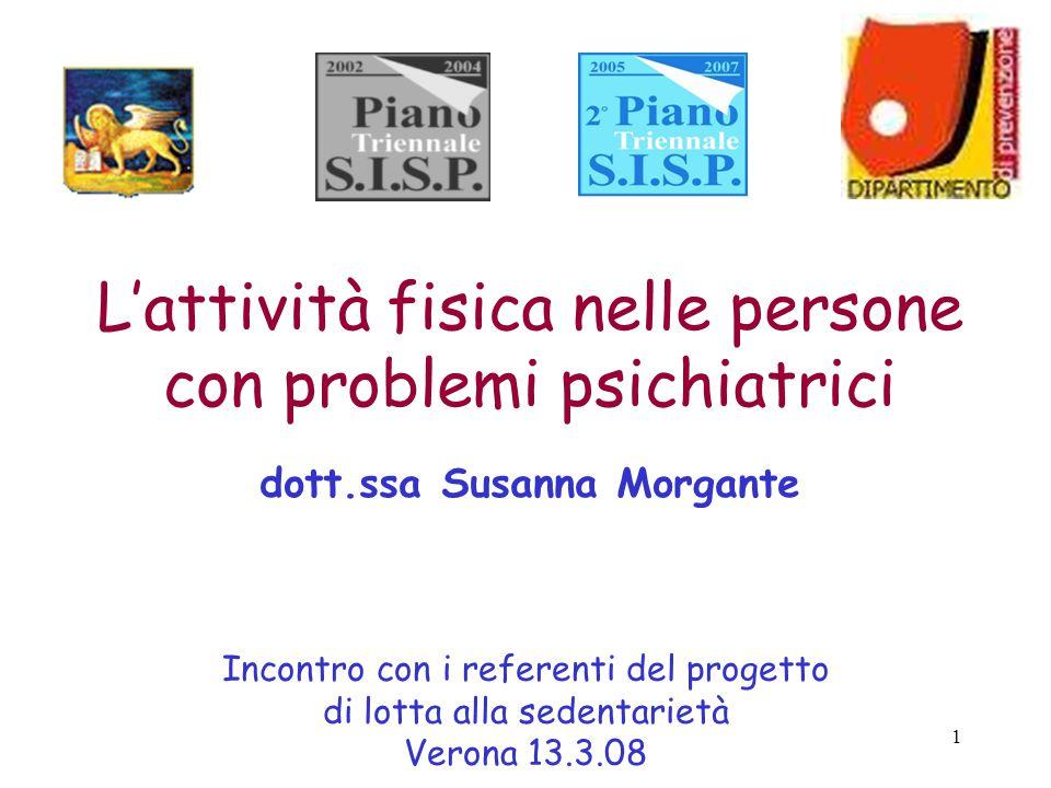 1 L'attività fisica nelle persone con problemi psichiatrici dott.ssa Susanna Morgante Incontro con i referenti del progetto di lotta alla sedentarietà Verona 13.3.08