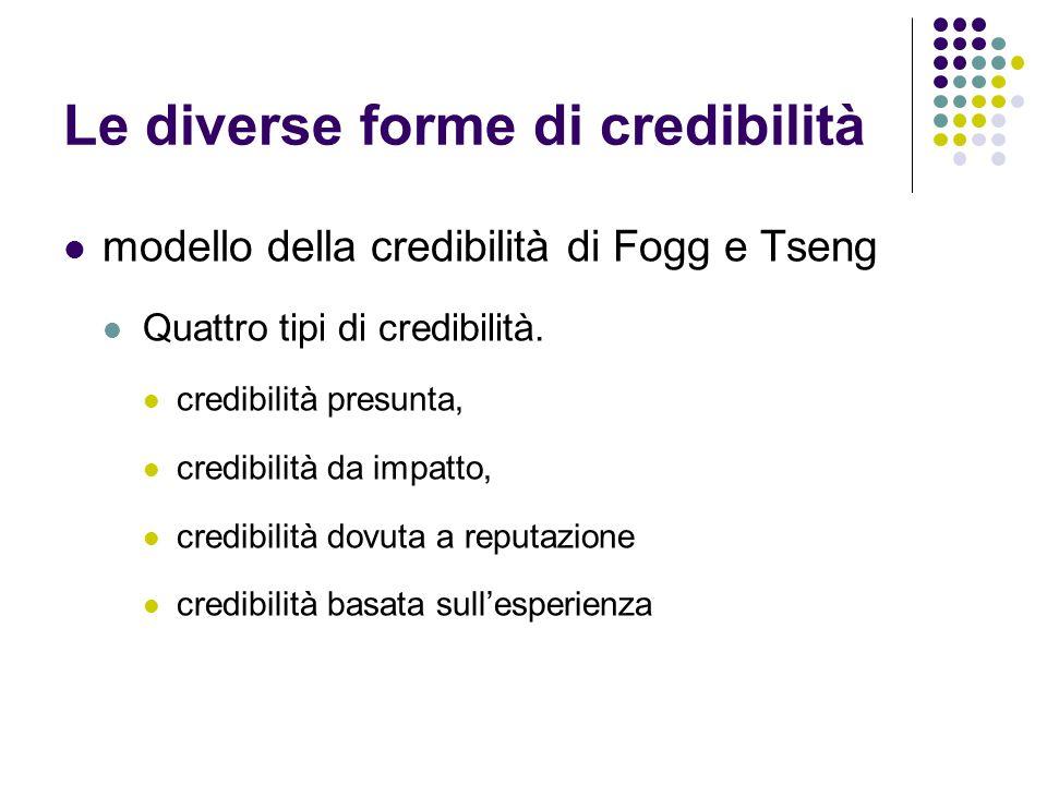 Le diverse forme di credibilità modello della credibilità di Fogg e Tseng Quattro tipi di credibilità.