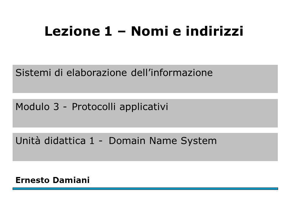 Sistemi di elaborazione dell'informazione Modulo 3 -Protocolli applicativi Unità didattica 1 -Domain Name System Ernesto Damiani Lezione 1 – Nomi e indirizzi