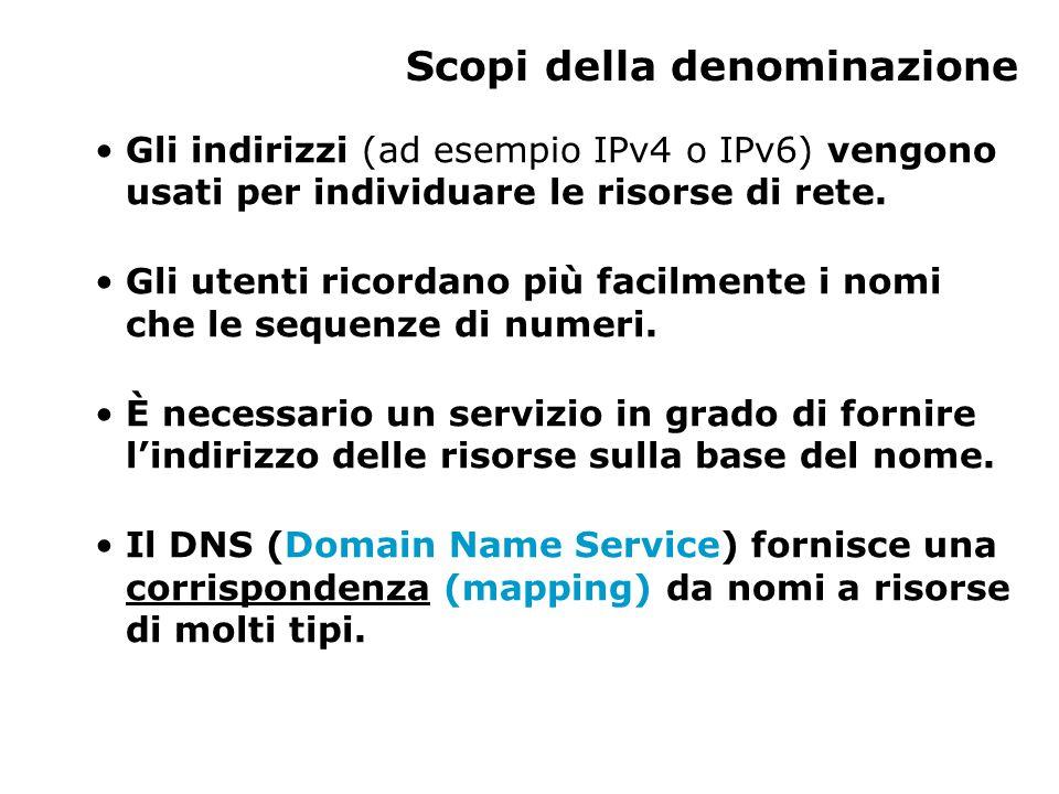 Scopi della denominazione Gli indirizzi (ad esempio IPv4 o IPv6) vengono usati per individuare le risorse di rete.