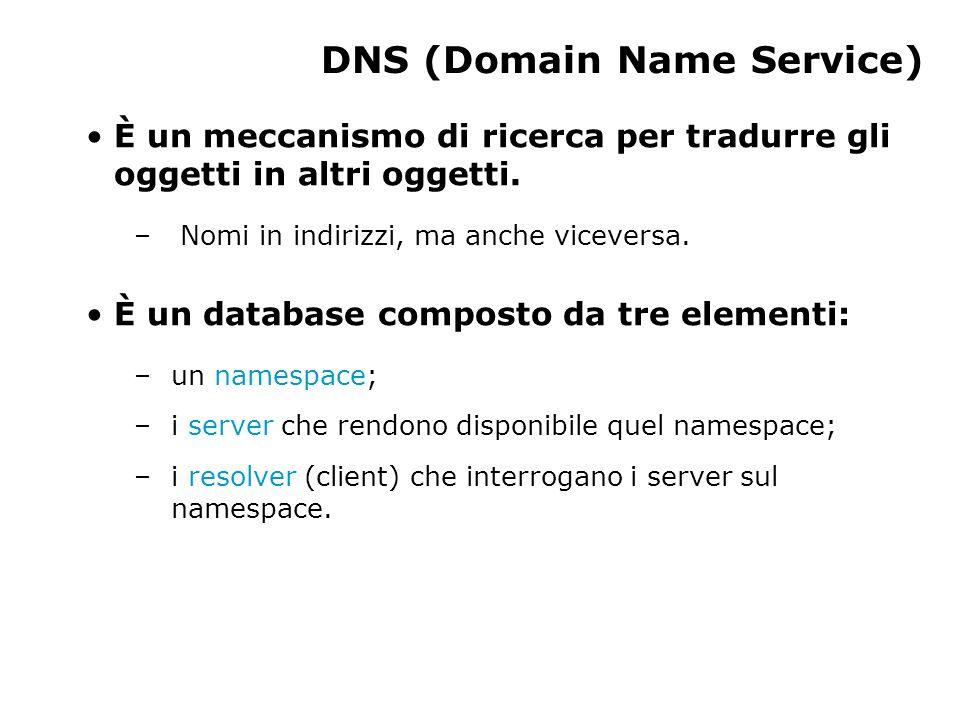 DNS (Domain Name Service) È un meccanismo di ricerca per tradurre gli oggetti in altri oggetti.