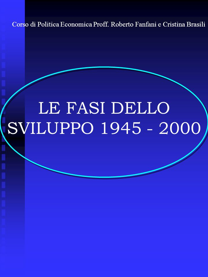 LE FASI DELLO SVILUPPO 1945 - 2000 Corso di Politica Economica Proff.