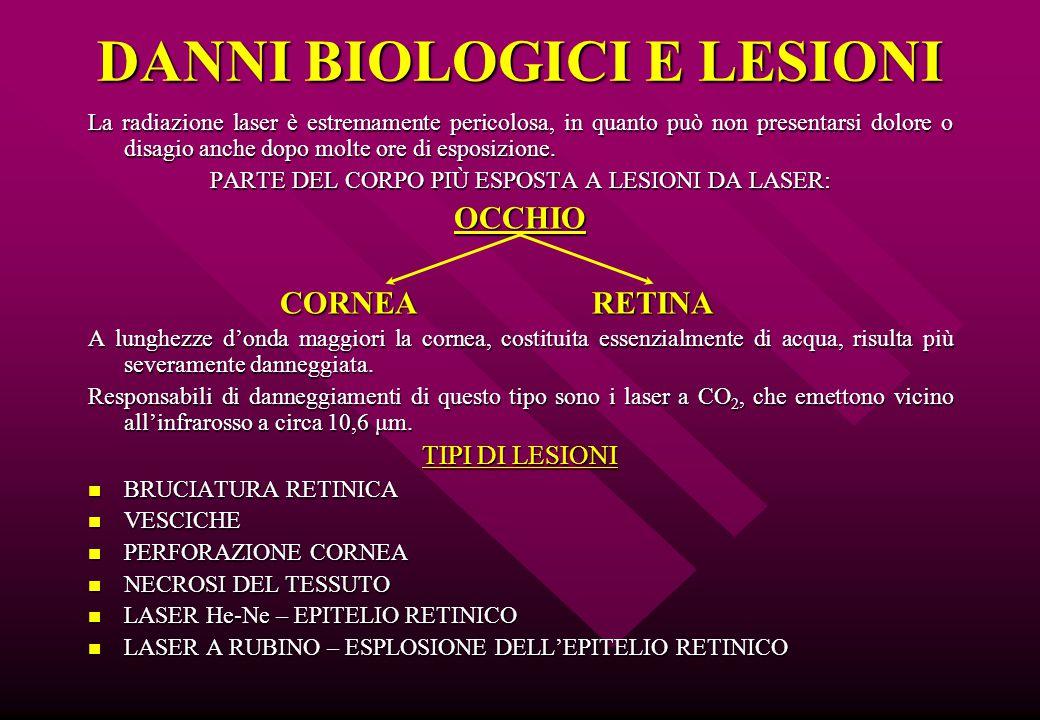 DANNI BIOLOGICI E LESIONI La radiazione laser è estremamente pericolosa, in quanto può non presentarsi dolore o disagio anche dopo molte ore di esposi