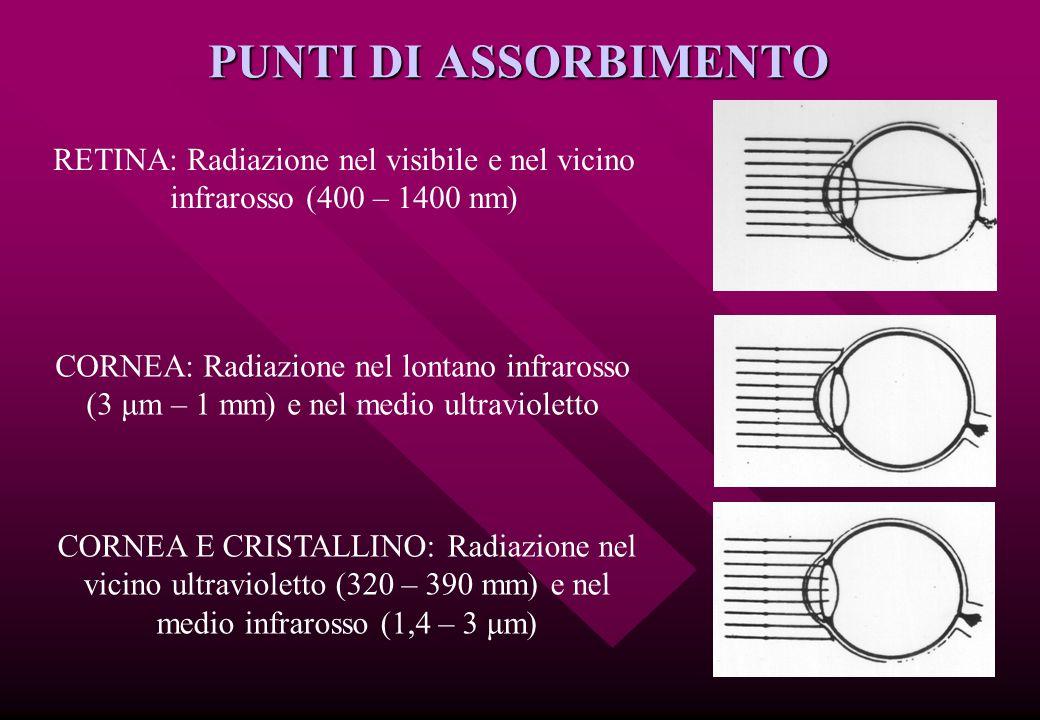 PUNTI DI ASSORBIMENTO RETINA: Radiazione nel visibile e nel vicino infrarosso (400 – 1400 nm) CORNEA: Radiazione nel lontano infrarosso (3 μm – 1 mm)