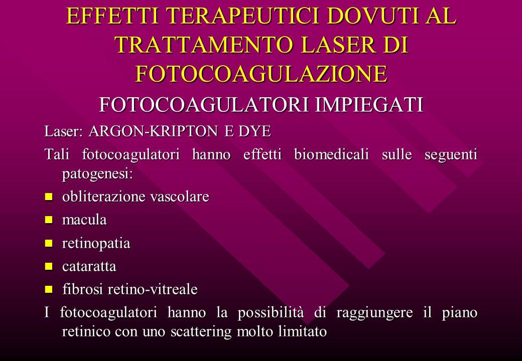 EFFETTI TERAPEUTICI DOVUTI AL TRATTAMENTO LASER DI FOTOCOAGULAZIONE FOTOCOAGULATORI IMPIEGATI Laser: ARGON-KRIPTON E DYE Tali fotocoagulatori hanno ef