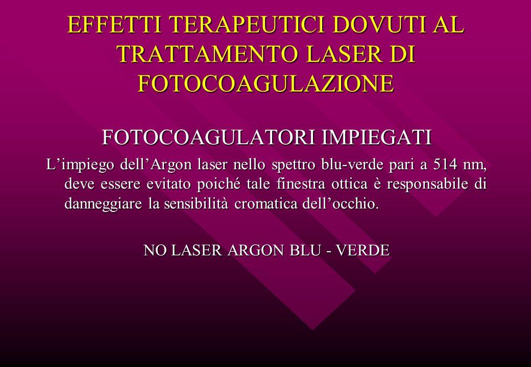 EFFETTI TERAPEUTICI DOVUTI AL TRATTAMENTO LASER DI FOTOCOAGULAZIONE FOTOCOAGULATORI IMPIEGATI L'impiego dell'Argon laser nello spettro blu-verde pari