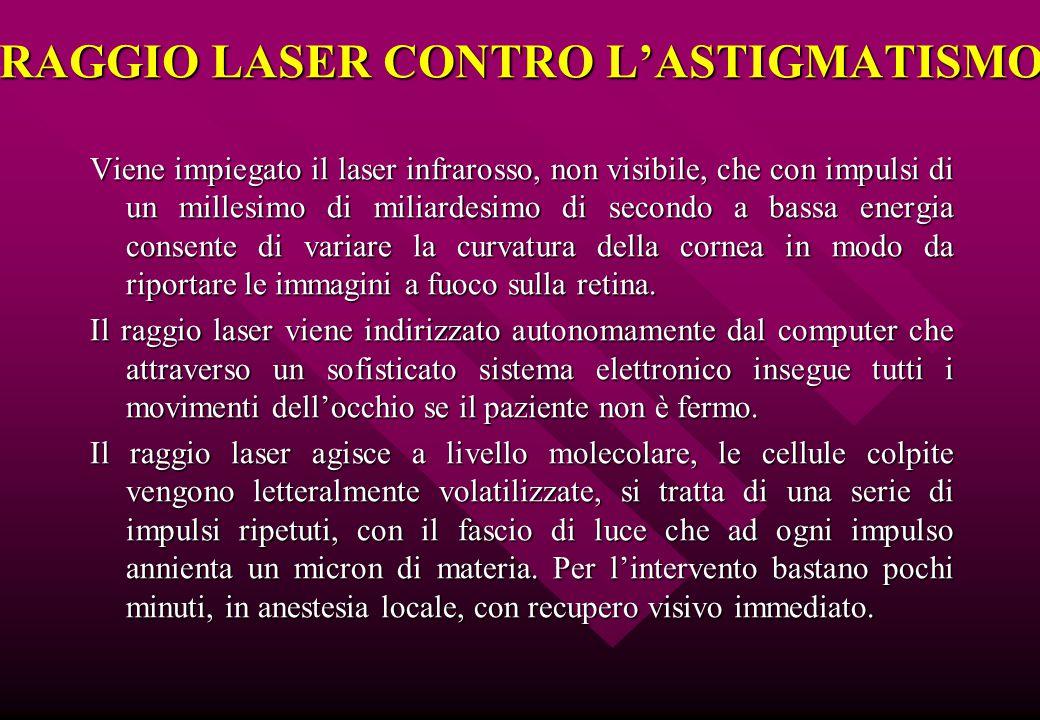 RAGGIO LASER CONTRO L'ASTIGMATISMO Viene impiegato il laser infrarosso, non visibile, che con impulsi di un millesimo di miliardesimo di secondo a bas