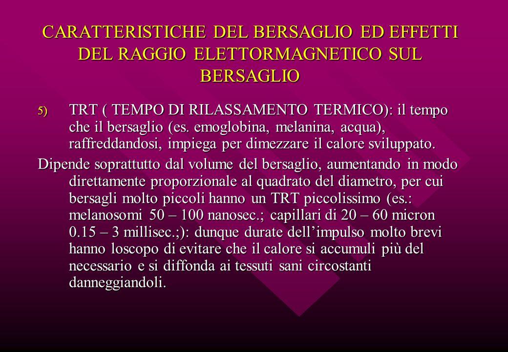 CARATTERISTICHE DEL BERSAGLIO ED EFFETTI DEL RAGGIO ELETTORMAGNETICO SUL BERSAGLIO 5) TRT ( TEMPO DI RILASSAMENTO TERMICO): il tempo che il bersaglio