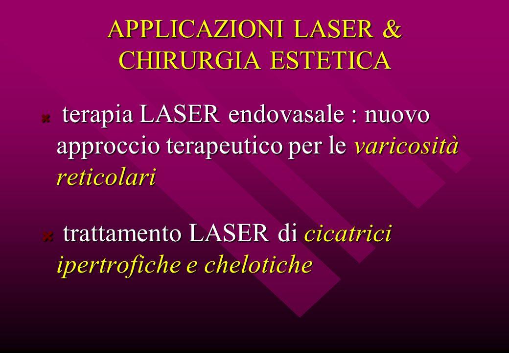 APPLICAZIONI LASER & CHIRURGIA ESTETICA terapia LASER endovasale : nuovo approccio terapeutico per le varicosità reticolari terapia LASER endovasale :