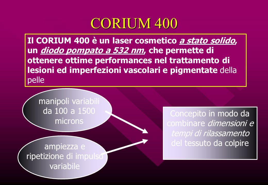 CORIUM 400 Il CORIUM 400 è un laser cosmetico a stato solido, un diodo pompato a 532 nm, che permette di ottenere ottime performances nel trattamento