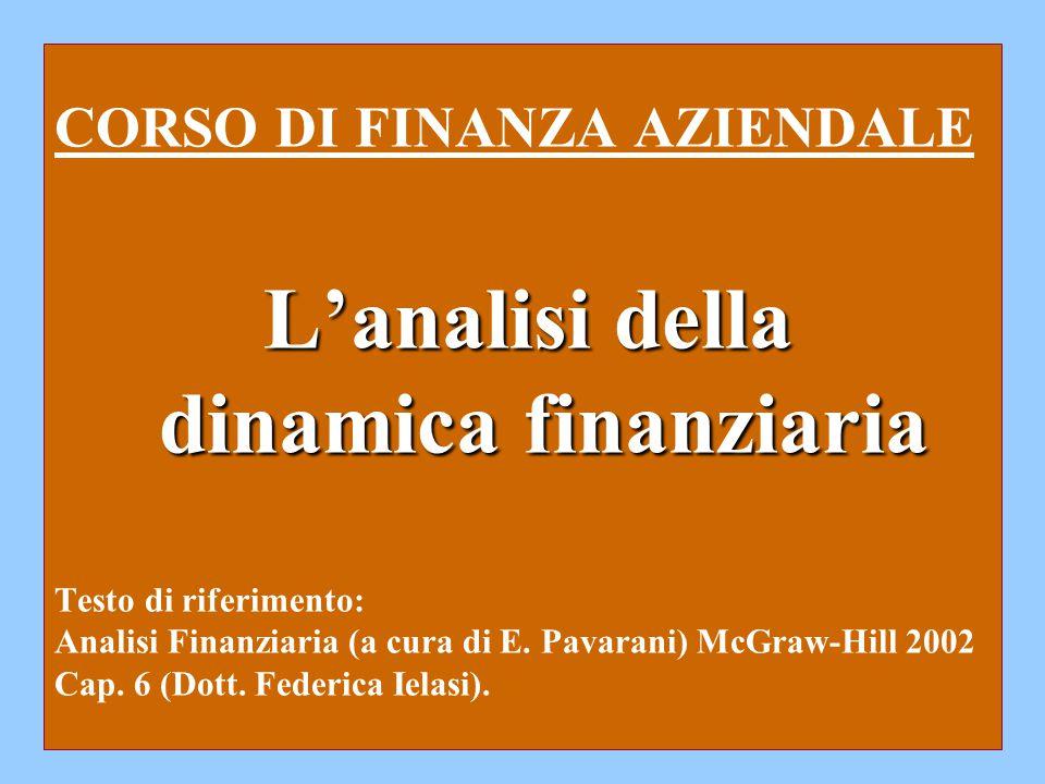 L'analisi della dinamica finanziaria CORSO DI FINANZA AZIENDALE L'analisi della dinamica finanziaria Testo di riferimento: Analisi Finanziaria (a cura