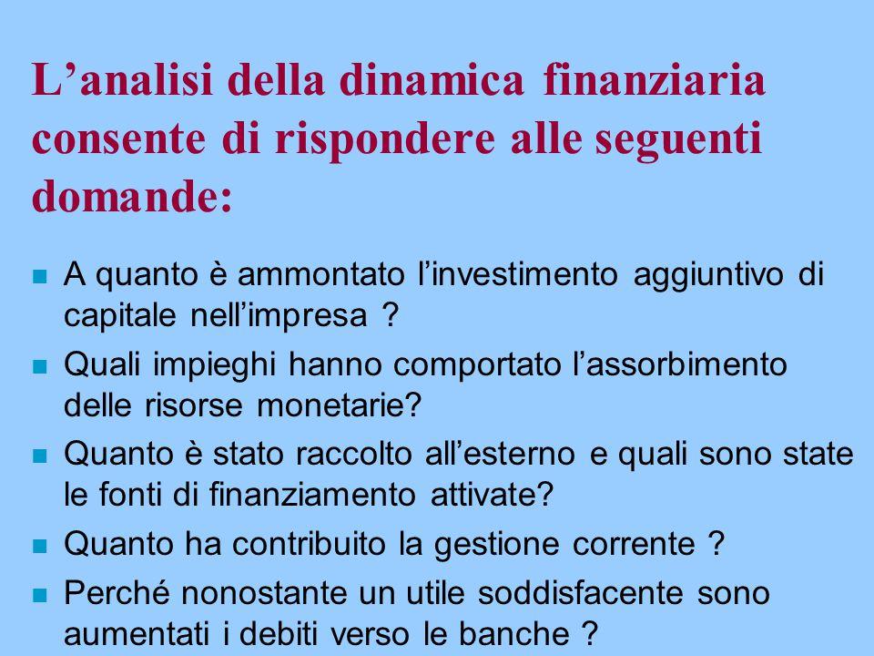 L'analisi della dinamica finanziaria consente di rispondere alle seguenti domande: n A quanto è ammontato l'investimento aggiuntivo di capitale nell'i