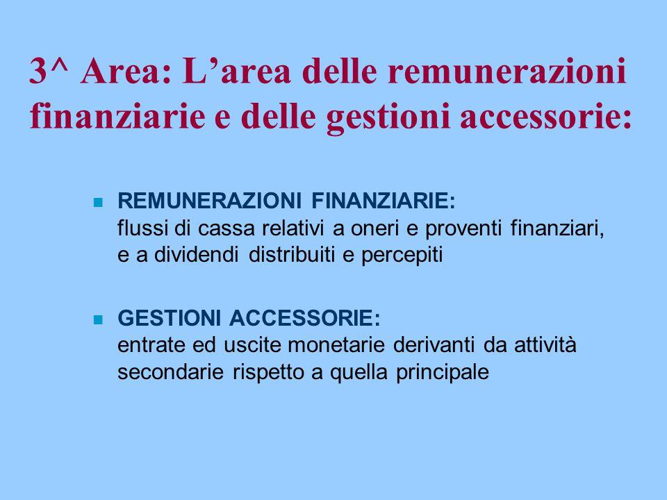 3^ Area: L'area delle remunerazioni finanziarie e delle gestioni accessorie: n REMUNERAZIONI FINANZIARIE: flussi di cassa relativi a oneri e proventi
