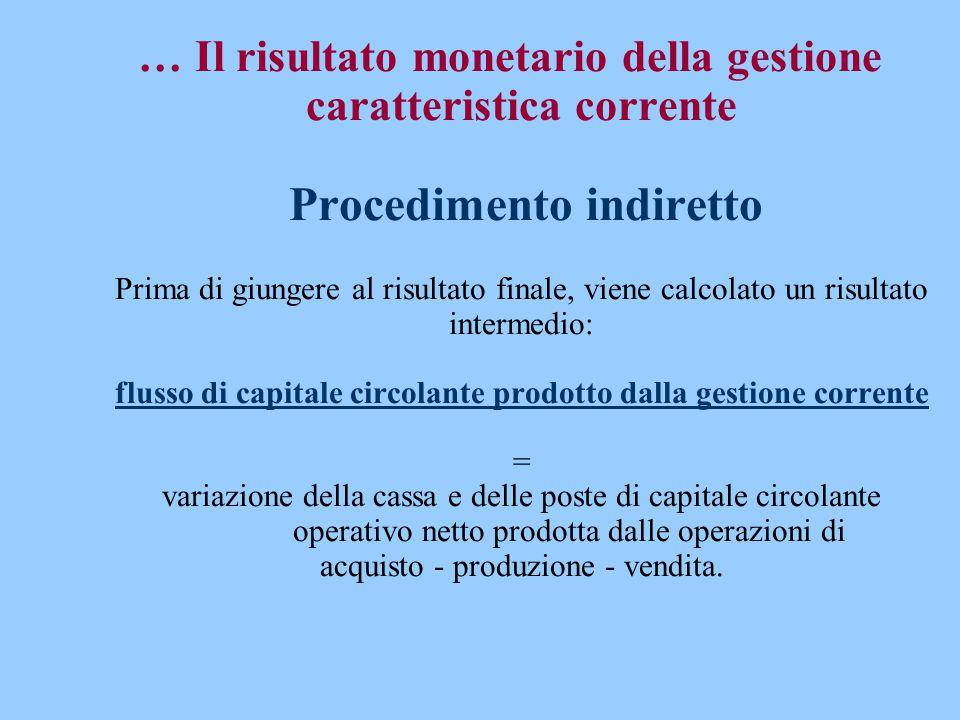 … Il risultato monetario della gestione caratteristica corrente Procedimento indiretto Prima di giungere al risultato finale, viene calcolato un risul