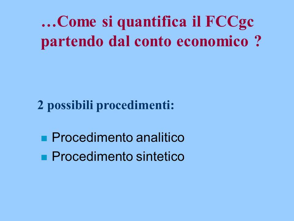 …Come si quantifica il FCCgc partendo dal conto economico ? n Procedimento analitico n Procedimento sintetico 2 possibili procedimenti: