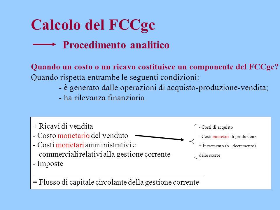 Calcolo del FCCgc Procedimento analitico Quando un costo o un ricavo costituisce un componente del FCCgc? Quando rispetta entrambe le seguenti condizi