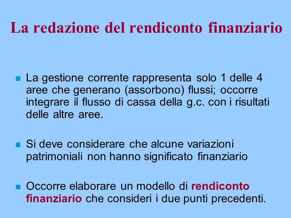 La redazione del rendiconto finanziario n La gestione corrente rappresenta solo 1 delle 4 aree che generano (assorbono) flussi; occorre integrare il f