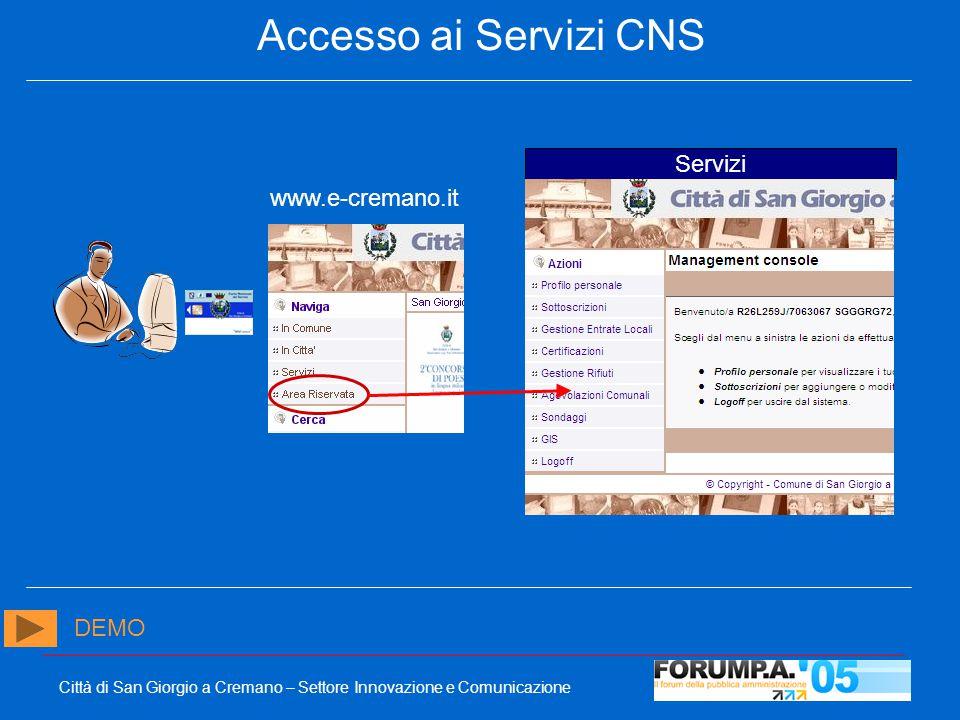 Città di San Giorgio a Cremano – Settore Innovazione e Comunicazione Accesso ai Servizi CNS Servizi www.e-cremano.it DEMO