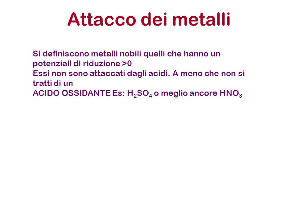 Attacco dei metalli Si definiscono metalli nobili quelli che hanno un potenziali di riduzione >0 Essi non sono attaccati dagli acidi. A meno che non s