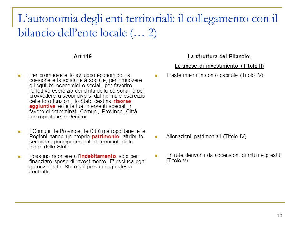 10 L'autonomia degli enti territoriali: il collegamento con il bilancio dell'ente locale (… 2) Art.119 Per promuovere lo sviluppo economico, la coesio