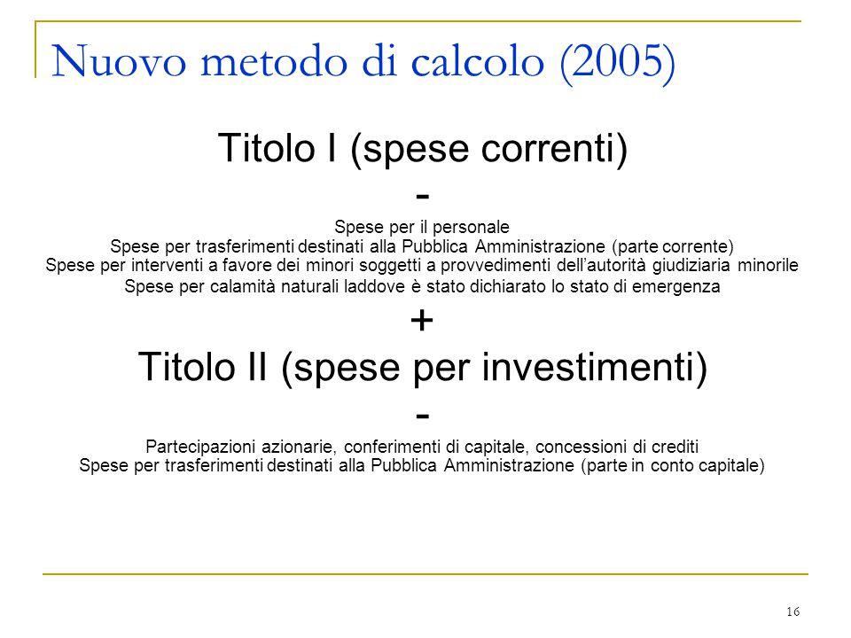 16 Nuovo metodo di calcolo (2005) Titolo I (spese correnti) - Spese per il personale Spese per trasferimenti destinati alla Pubblica Amministrazione (