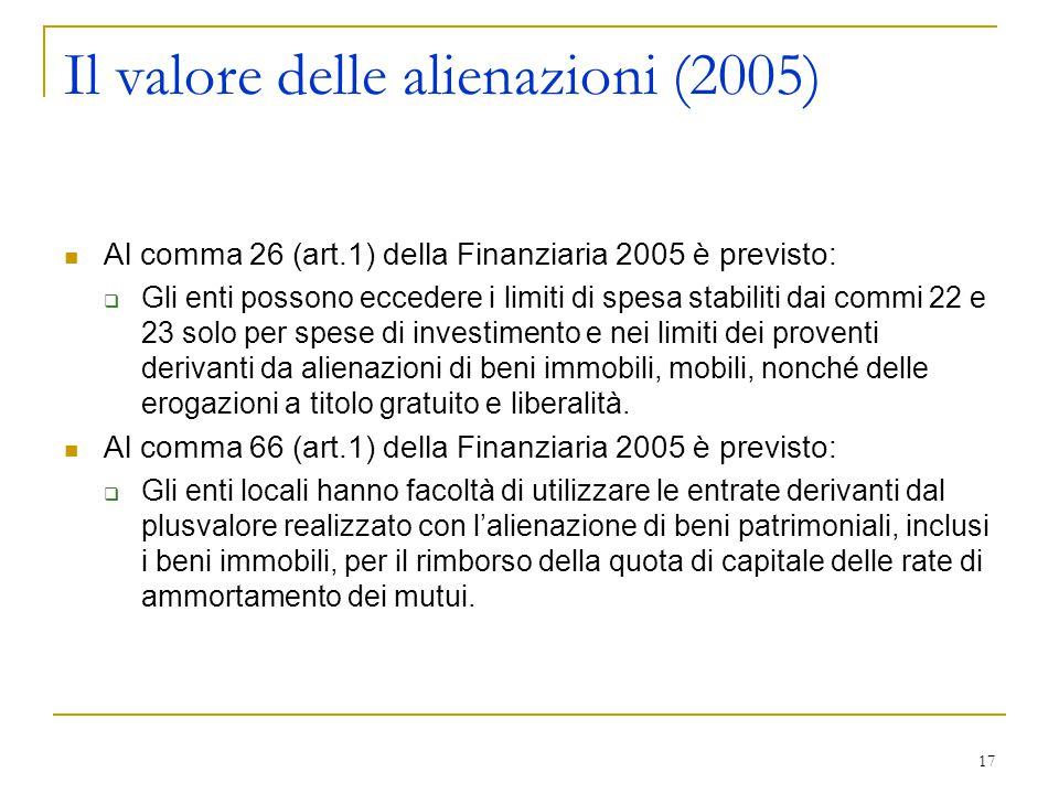 17 Il valore delle alienazioni (2005) Al comma 26 (art.1) della Finanziaria 2005 è previsto:  Gli enti possono eccedere i limiti di spesa stabiliti d