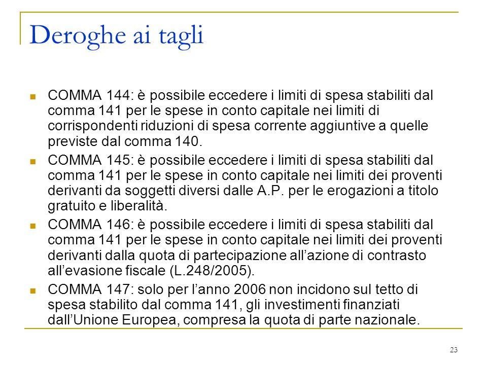 23 Deroghe ai tagli COMMA 144: è possibile eccedere i limiti di spesa stabiliti dal comma 141 per le spese in conto capitale nei limiti di corrisponde