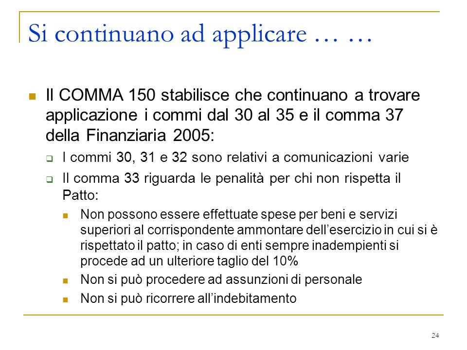24 Si continuano ad applicare … … Il COMMA 150 stabilisce che continuano a trovare applicazione i commi dal 30 al 35 e il comma 37 della Finanziaria 2