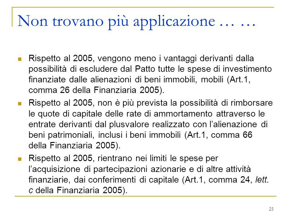 25 Non trovano più applicazione … … Rispetto al 2005, vengono meno i vantaggi derivanti dalla possibilità di escludere dal Patto tutte le spese di inv