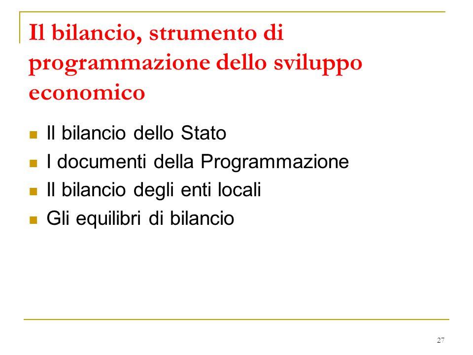 27 Il bilancio, strumento di programmazione dello sviluppo economico Il bilancio dello Stato I documenti della Programmazione Il bilancio degli enti l