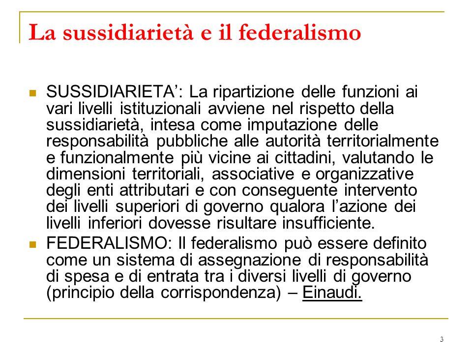 3 La sussidiarietà e il federalismo SUSSIDIARIETA': La ripartizione delle funzioni ai vari livelli istituzionali avviene nel rispetto della sussidiari